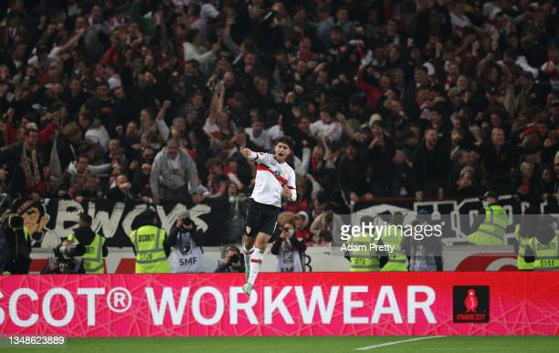 Wahid Faghir of VfB Stuttgart celebrates after scoring their side's first goal during the Bundesliga match between VfB Stuttgart and 1. FC Union...