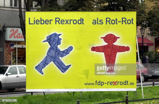 Wahlen zum Berliner Abgeordnetenhaus 2001 Wahlkplakat der FDP mit Hinweis auf Spitzenkandidat Günther Rexrodt