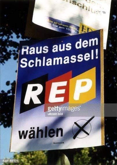 Wahlkampf in Berlin: Plakat der Republikaner - September 1999