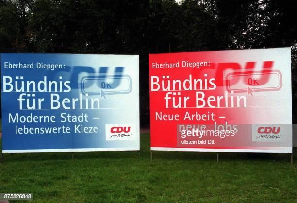 Wahlkampf , Wahl zum Abgeordnetenhaus, in Berlin, September 1999: Grossflächenplakate der CDU Berlin mit den Parolen `Bündnis für Berlin`