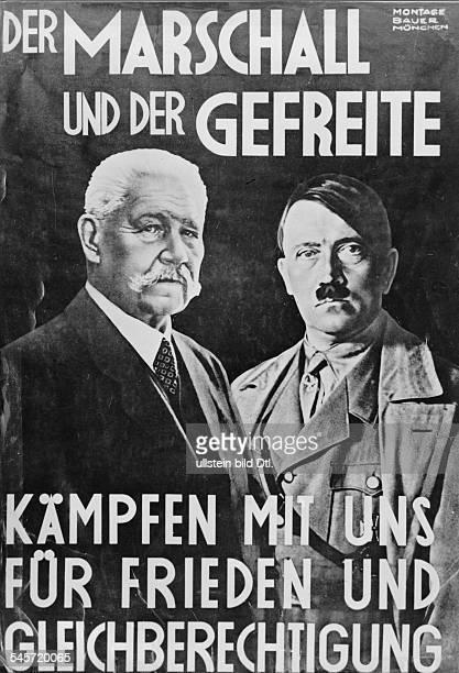 Wahlplakat mit Reichspräsident Paul v Hindenburg und Adolf Hitler 'Der Marschall und der Gefreite'