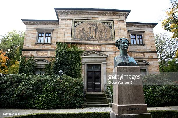 Wahnfried house of Richard Wagner (Richard Wagner Museum) with statue of King Ludwig II in foreground.