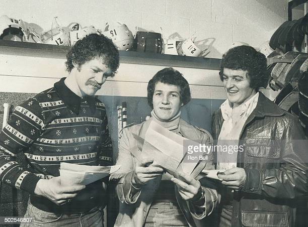 Waht's in a name Maple Leafs' highscoring forward combination of Lanny McDonald left Darryl Sittler centre and Errol Thompson right who have totalled...