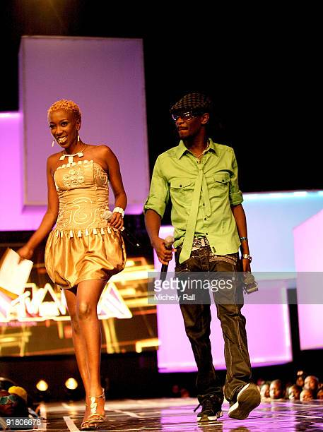 Wahu and Nameless on stage at the MTV Africa Music Awards with Zain at the Moi International Sports Centre on October 10 2009 in Nairobi Kenya