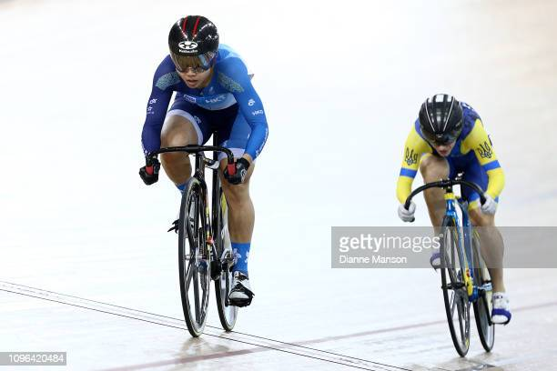Wai Sze Lee of Hong Kong and Olena Starikova of Ukraine compete in the Women's Sprint final during the 2018 UCI Track World Cup on January 19 2019 in...