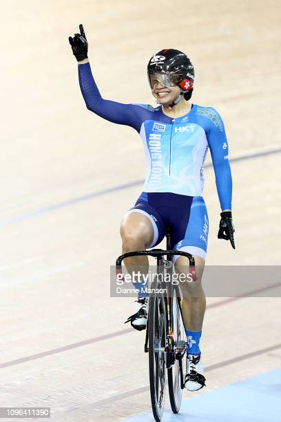 Wai Sze Lee of Hong Kong celebrates finishing first in the Women's Sprint final during the 2018 UCI Track World Cup on January 19 2019 in Cambridge...