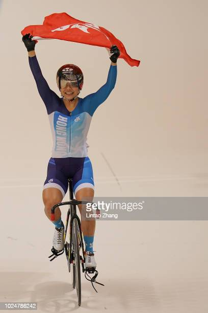 Wai Sze Lee of Hong Kong China celebrate after wining the Cycling Track Women's Keirin Final on day ten of the Asian Games on August 28 2018 in...