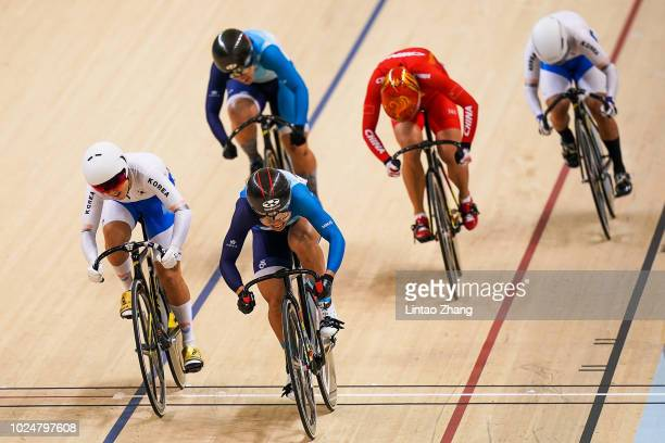 Wai Sze Lee of Hong Kong China crossing the finish line after win the Cycling Track Women's Keirin Final on day ten of the Asian Games on August 28...
