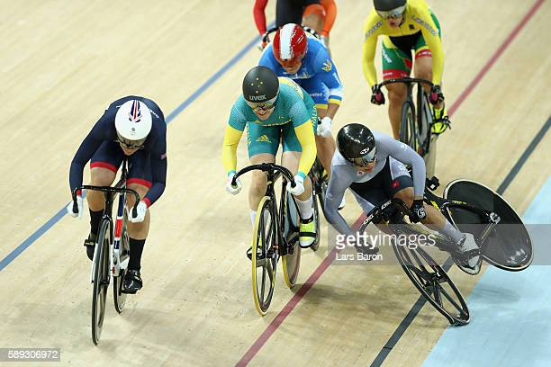 Wai Sze Lee of Hong Kong crashes out in the Women's Keirin Second round heat 2 on Day 8 of the Rio 2016 Olympic Games at the Rio Olympic Velodrome on...