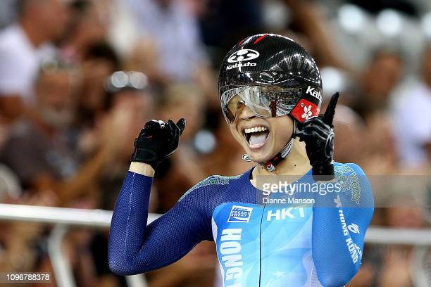 Wai Sze Lee of Hong Kong reacts after finishing first in the Women's Keirin final during the 2018 UCI Track World Cup on January 20, 2019 in...