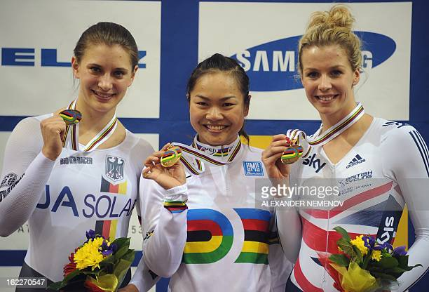 Wai Sze Lee of HongKong gold German Mariam Welte silver and bronze vinner British Rebecca Angharad James pose with their medals in womens' 500m Time...