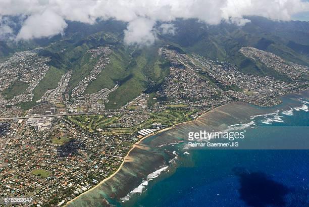 waialae aerial - honolulu foto e immagini stock