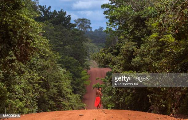 A Waiapi man walks on the road in the Waiapi indigenous reserve in Amapa state in Brazil on October 15 2017 Tribal chieftain Tzako Waiapi perfectly...