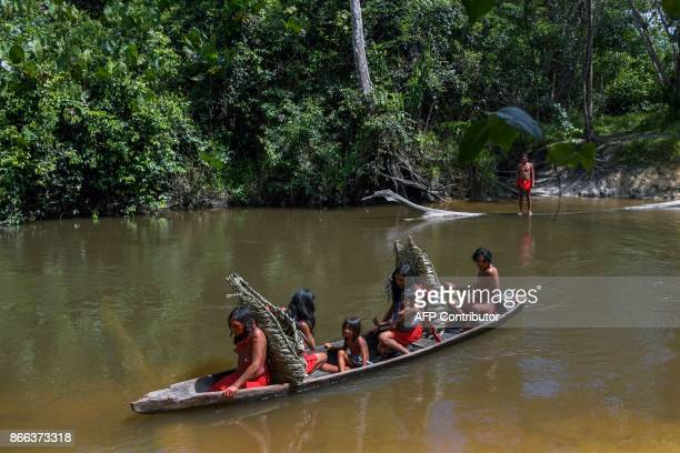 Waiapi people cross the Feliz river by barge to go to harvest manioc to prepare Caxiri a craft beer made with Manioc imbibed daily by men women and...