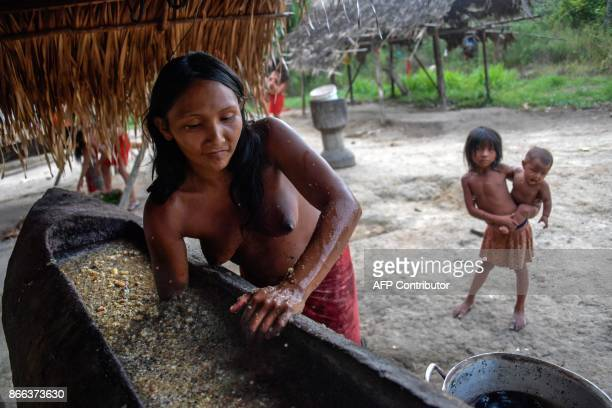 A Waiapi woman mixes water and manioc to prepare Caxiri a craft beer made with Manioc imbibed daily by men women and children when is not sour yet at...