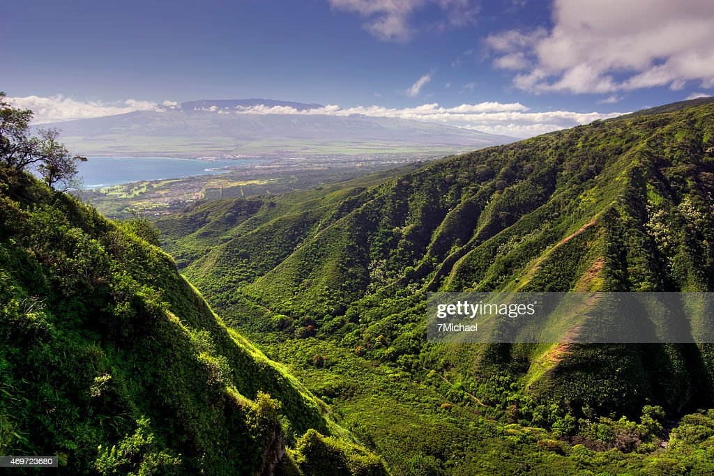 Waihee Ridge Trail and view of Kahului and Haleakala, Hawaii : Stock Photo