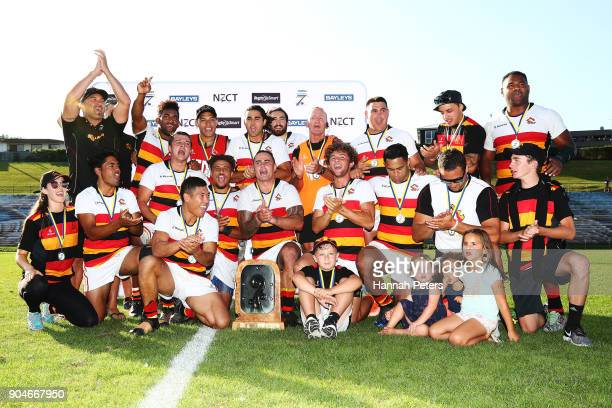Waikato celebrate after winning the Bayleys National Sevens Men's Cup Final match between Waikato and Tasman at Rotorua International Stadium on...