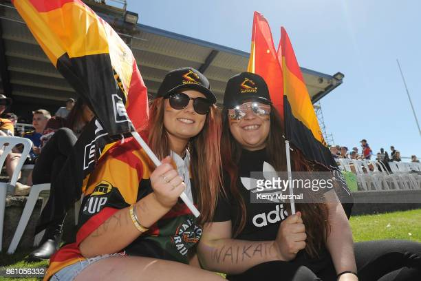 Waikato supporters before the round nine Mitre 10 Cup match between Bay of Plenty and Waikato at Tauranga Domain on October 14 2017 in Tauranga New...