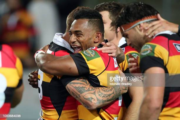 Waikato's Declan OÕDonnell and Sevu Reece celebrate during the Mitre 10 Cup Championship Final match between Waikato and Otago at FMG Stadium on...