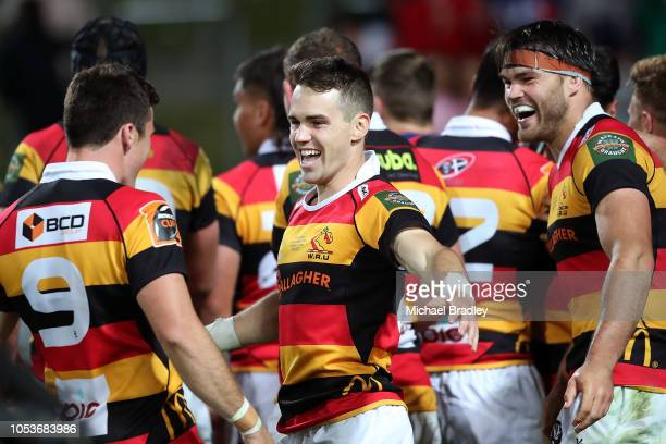 Waikato's Fletcher Smith celebrates winning the Mitre 10 Cup Championship Final match between Waikato and Otago at FMG Stadium on October 26 2018 in...