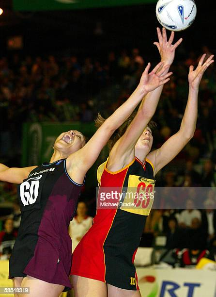 Waikato's Irene Van Dyk and Netball Norths Sheryl Clarke compete during the Final of the Netball Smokefree Champs between Waikato and Netball North...