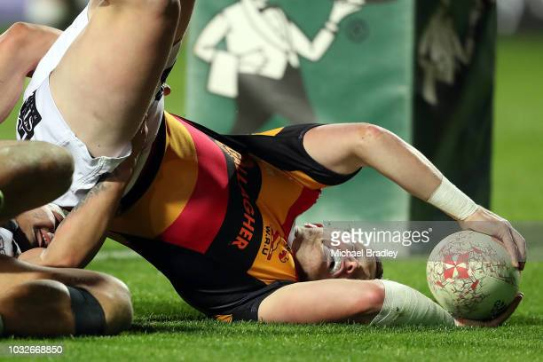 Waikato's Raniera Takarangi dives in for a try during the round five Mitre 10 Cup match between Waikato and Hawke's Bay on September 13, 2018 in...