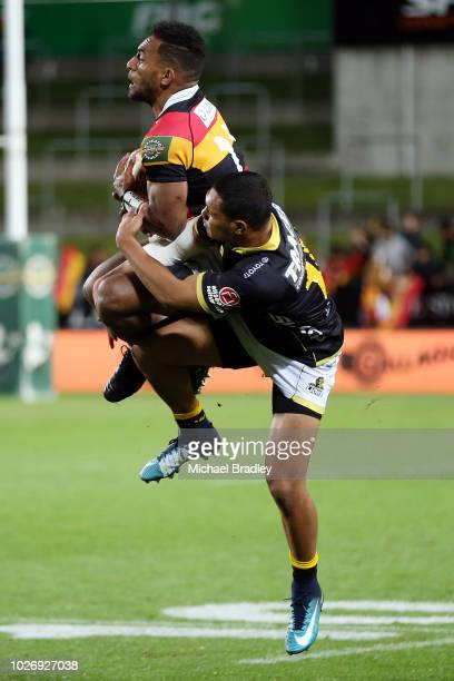 Waikato's Sevu Reece and Wellington's Malo Tuitama compete for the high ball during the round four Mitre 10 Cup match between Waikato and Wellington...