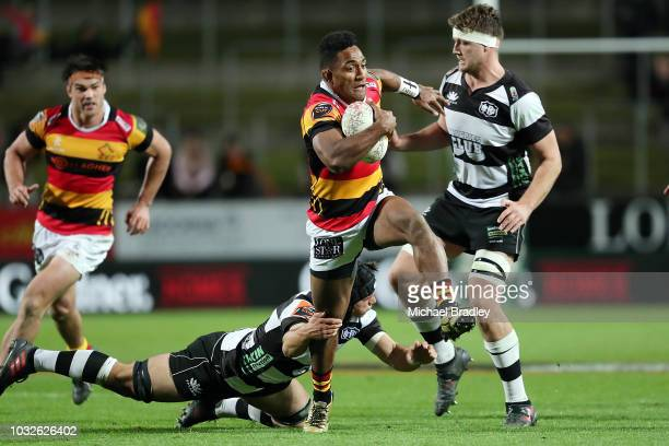 Waikato's Sevu Reece races away to score a try during the round five Mitre 10 Cup match between Waikato and Hawke's Bay on September 13, 2018 in...