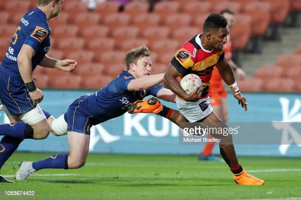 Waikato's Sevu Reece runs in a try during the Mitre 10 Cup Championship Final match between Waikato and Otago at FMG Stadium on October 26 2018 in...