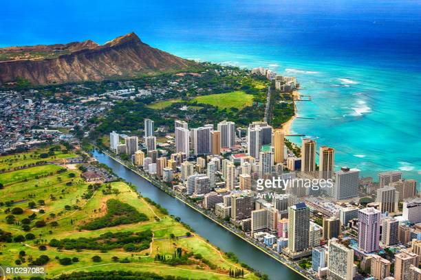 waikiki and diamond head aerial - honolulu stock pictures, royalty-free photos & images