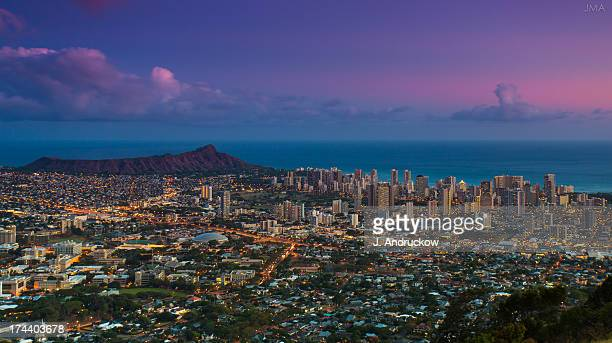 waikiki and diamond head at sunset - waikiki stock pictures, royalty-free photos & images