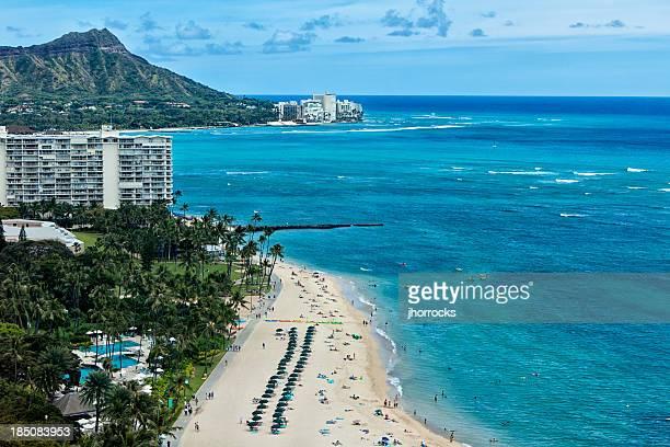 ワイキキビーチの空からの眺め - ダイヤモンドヘッド ストックフォトと画像