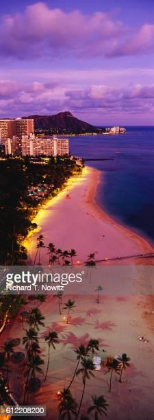 Waikiki Beach and Diamond Head at Twilight