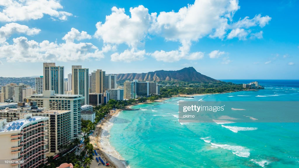 Waikiki Beach and Diamond Head Crater including the hotels and buildings in Waikiki, Honolulu, Oahu island, Hawaii. Waikiki Beach in the center of Honolulu has the largest number of visitors in Hawaii : Stock Photo