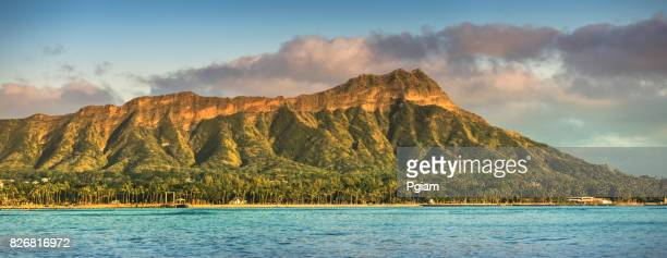 waikiki beach and diamond head crater panorama in honolulu - waikiki stock pictures, royalty-free photos & images
