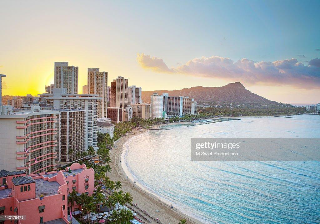 Waikiki beach at sunrise : Stock Photo