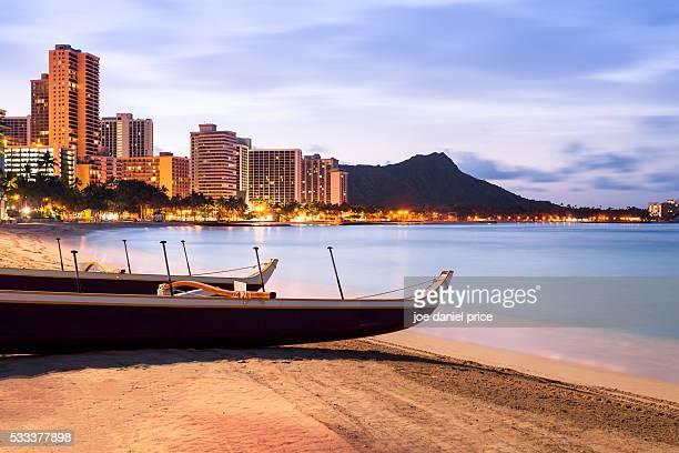 Waikiki Beach, Crescent Beach, Outrigger, Canoe, Boat, Honolulu, Oahu, Hawaii, America
