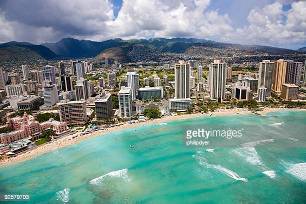 waikiki beach from the air - waikiki stock pictures, royalty-free photos & images