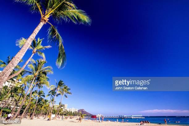 waikiki beach - ダイヤモンドヘッド ストックフォトと画像