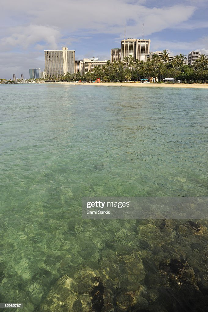 Waikiki beach seafront, view from ocean : Stock Photo