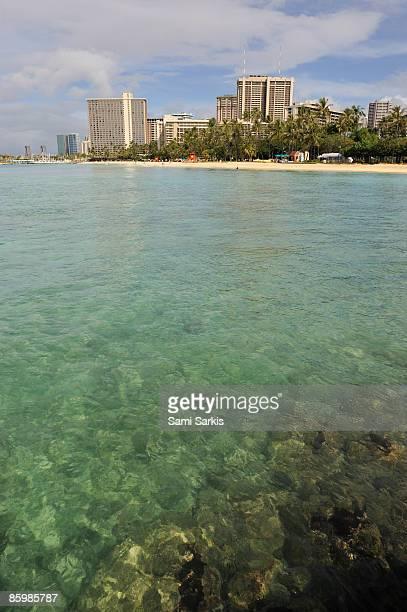 Waikiki beach seafront, view from ocean