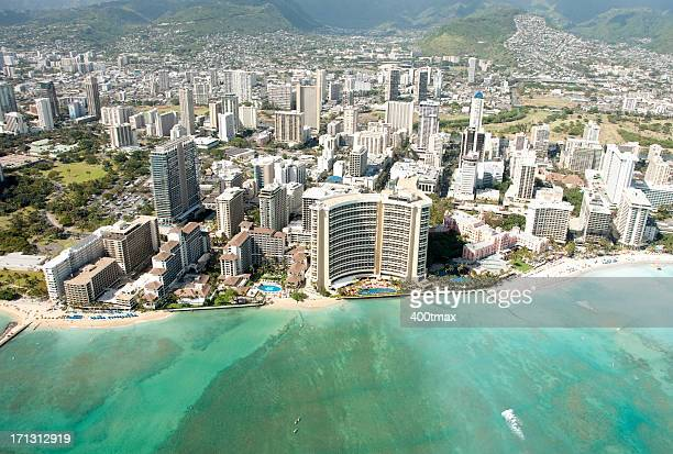 Waikiki Beach skyline shot from a Helicopter