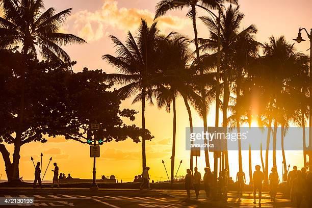 waikiki beach sunset, honolulu, usa - waikiki stock pictures, royalty-free photos & images