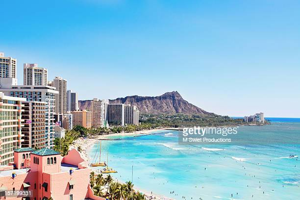 waikiki blue - waikiki stock pictures, royalty-free photos & images