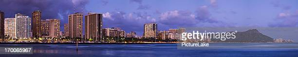 Waikiki cityscape and Diamond Head dusk panorama