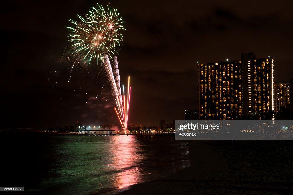 Waikiki Feuerwerk : Stock-Foto
