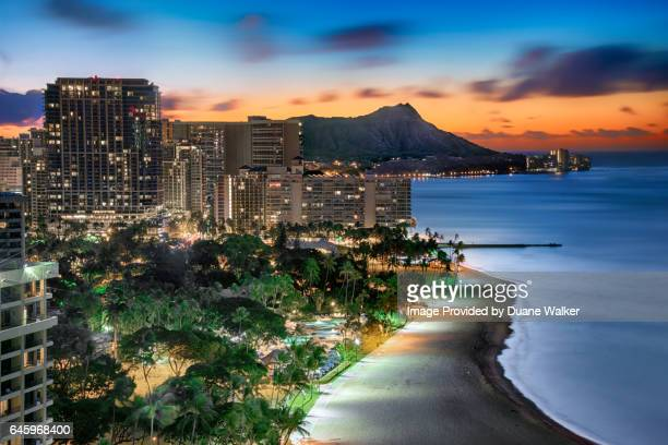 waikiki sunrise - waikiki stock pictures, royalty-free photos & images