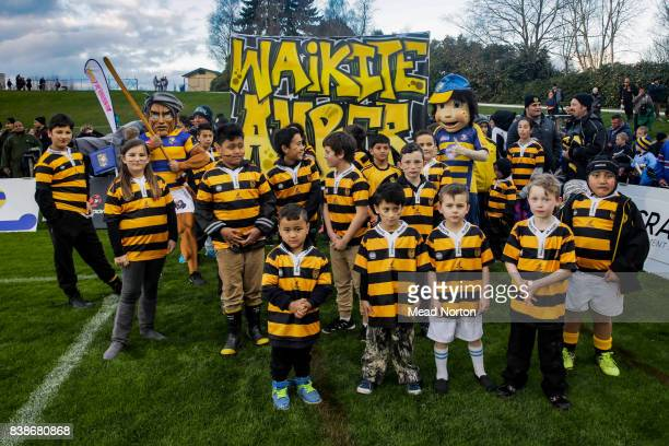 Waikite junior rugby team lining up to lead the junior club rugby march pass during the round two Mitre 10 Cup match between Bay of Plenty and...