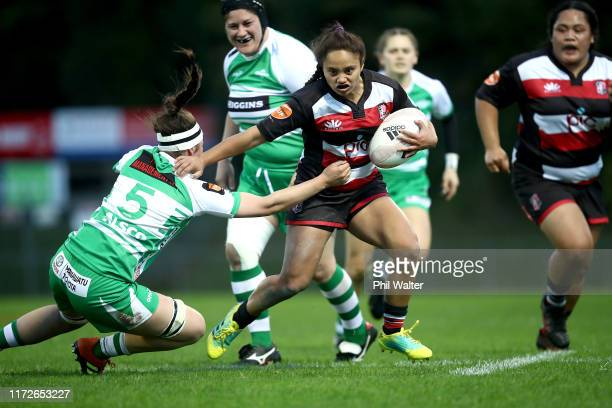 Waikohika Flesher of Counties is tackled during the round two Farah Palmer Cup match between Counties Manukau and Manawatu on September 06 2019 in...