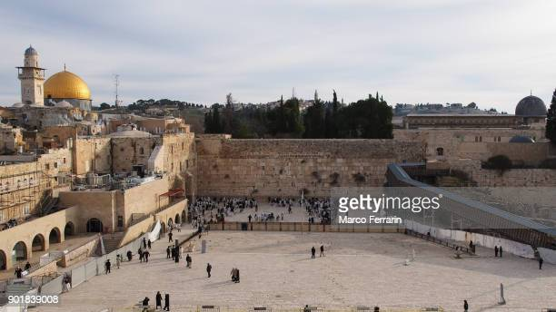 Wailing Wall and Dome of the Rock and Wailing Wall in the Old City of Jerusalem